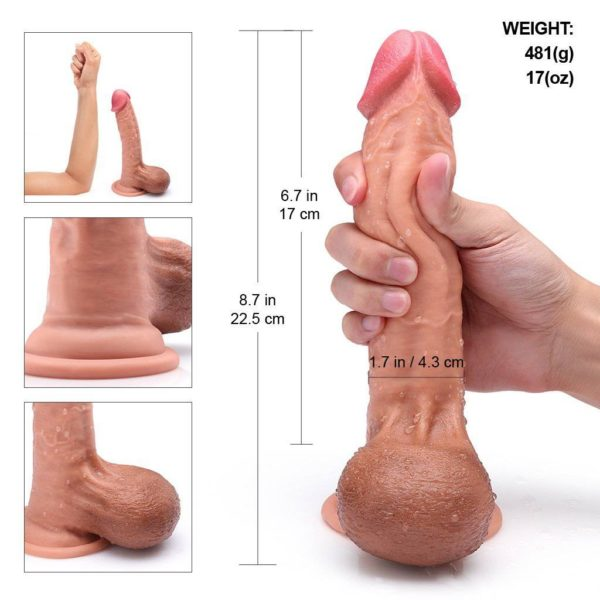 9 inch Dual Layered Realistic Silicone Dildo w/ Full Shaped Ball